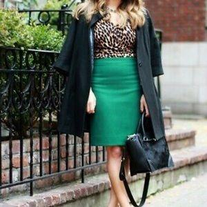 J. Crew l Emerald Kelly Green Pencil Skirt